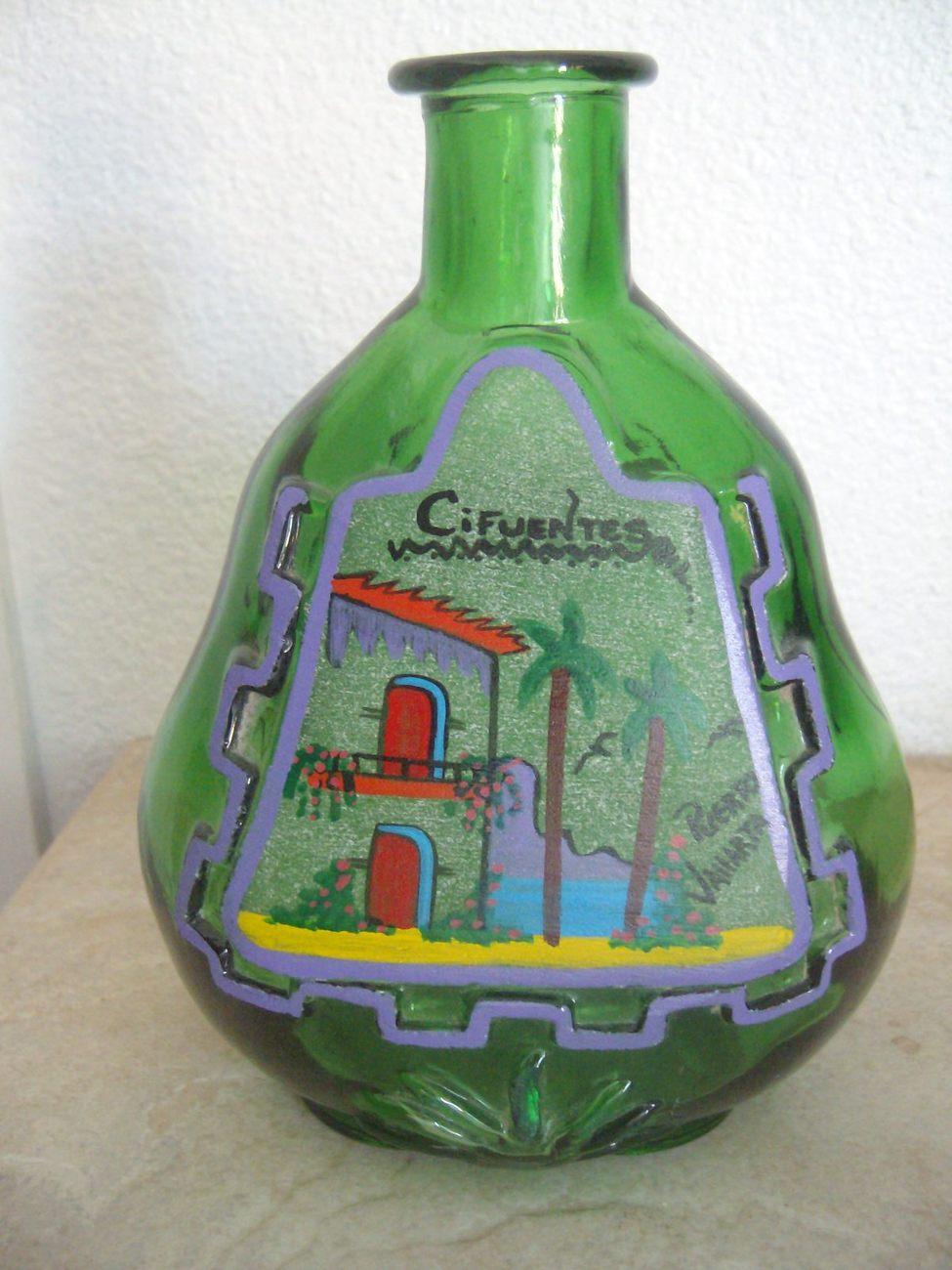 Green Painted Liquor Bottle Green Glass Decorative Bar