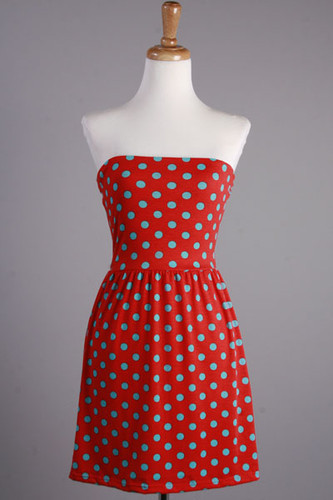 Vintage Style Red Blue Polka Dots Dress