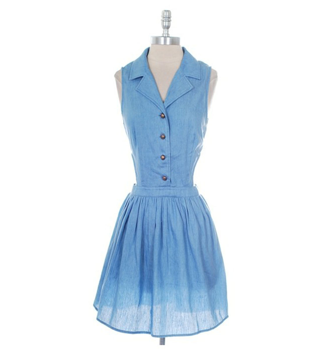 Retro Blue Cotton Dress