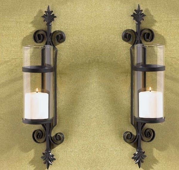 Candle Wall Sconces Nz : 2 Tuscan Black Metal Wall Sconce Glass Cylinder Votive or Pillar Candle Holders - Candle Holders ...