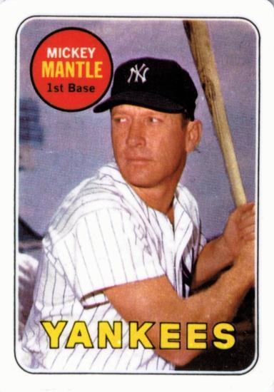 MICKEY MANTLE 1969 TOPPS #500 PORCELAIN ROOKIE CARD