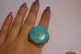 One of a kind, brass and turquoise ring! Hand made!  - Bonanzle