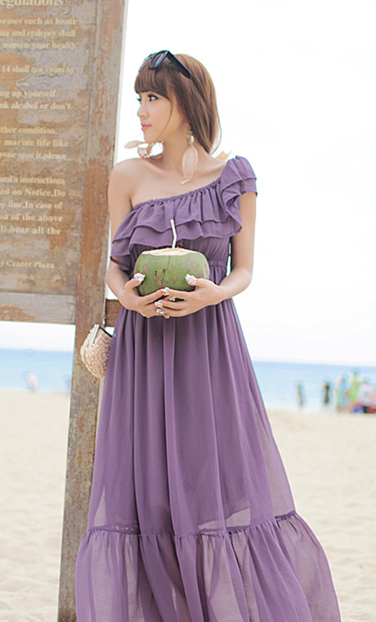 Fabulous Summer. Purple Chiffon Maxi Dress. Bohemian Ruffles Dress. Bridesmaids