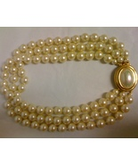 CAROLEE 3 STRAND PEARL NECKLACE WITH CABOCHON C... - $37.99