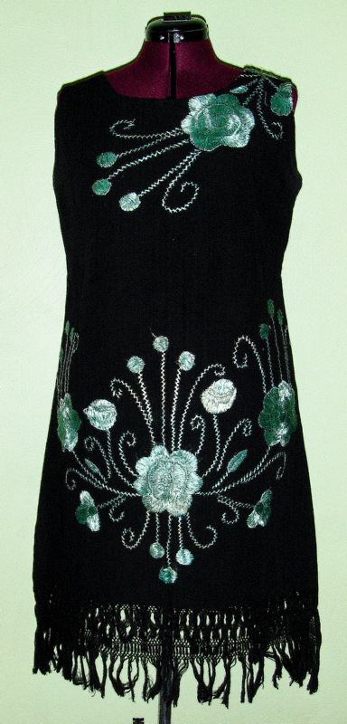 Cute 60s 70s Vintage Mod Embroidered Dress Floral Abstact Indie Boho