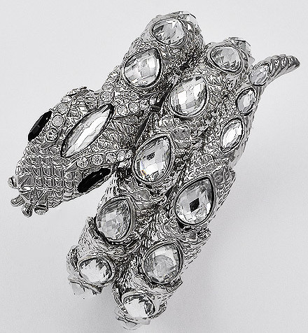 New clear figural Rhinestone SNAKE 3 row wrap bracelet silver tone Egyptian look
