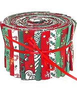Christmas Quilting Fabric Quilt Strips Jelly Roll, winter red green craft sewing