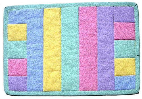 Perfect Pastel Mug Rug, OOAK handmade table mat, quilted mini quilt, A