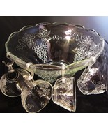 Anchor Hocking Punch Bowl, 11 Cups, Ladle, Grape Vintage Glass Pattern - $29.99