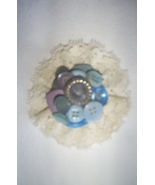 Vintage Blue Button Brooch, Handcrafted, New - $3.25