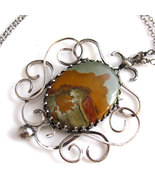 Desert Scape and Smoke Necklace - Jasper and Si... - $125.00