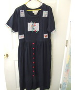 Ladies LGS Denim Trim Knit Long Dress 100% Cott... - $8.95