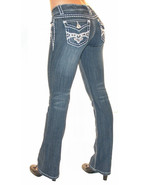 La Idol USA Women's Rhinestone Jeans with Fleur... - $89.99