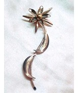 Copper Flower Pin Graceful long stem  - $12.00