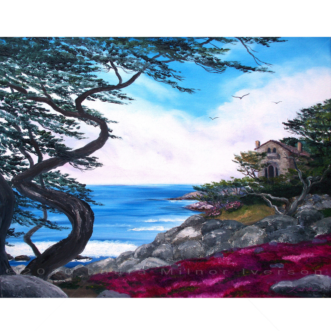 Carmel Monterey California Seascape Ocean Cypress Tree Original Oil Painting
