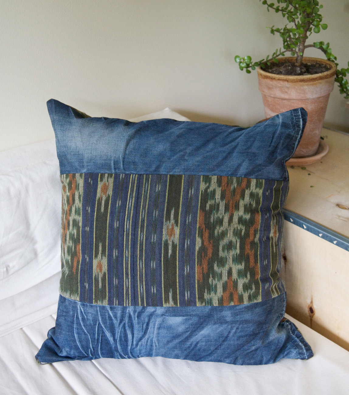 Pillow cover made from Indonesian Ikat and recycled jeans - GENUINE IKAT