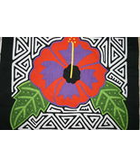 Kuna Mola Applique Colorful Hibiscus flora Bloo... - $49.49