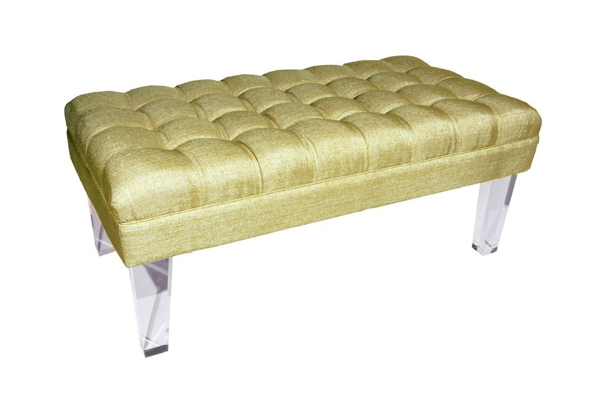 gold tufted lucite bench 48w x 24d acrylic legs hollywood regency glam benches stools. Black Bedroom Furniture Sets. Home Design Ideas