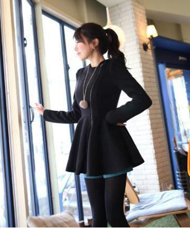 Dress-like short coat jacket - black