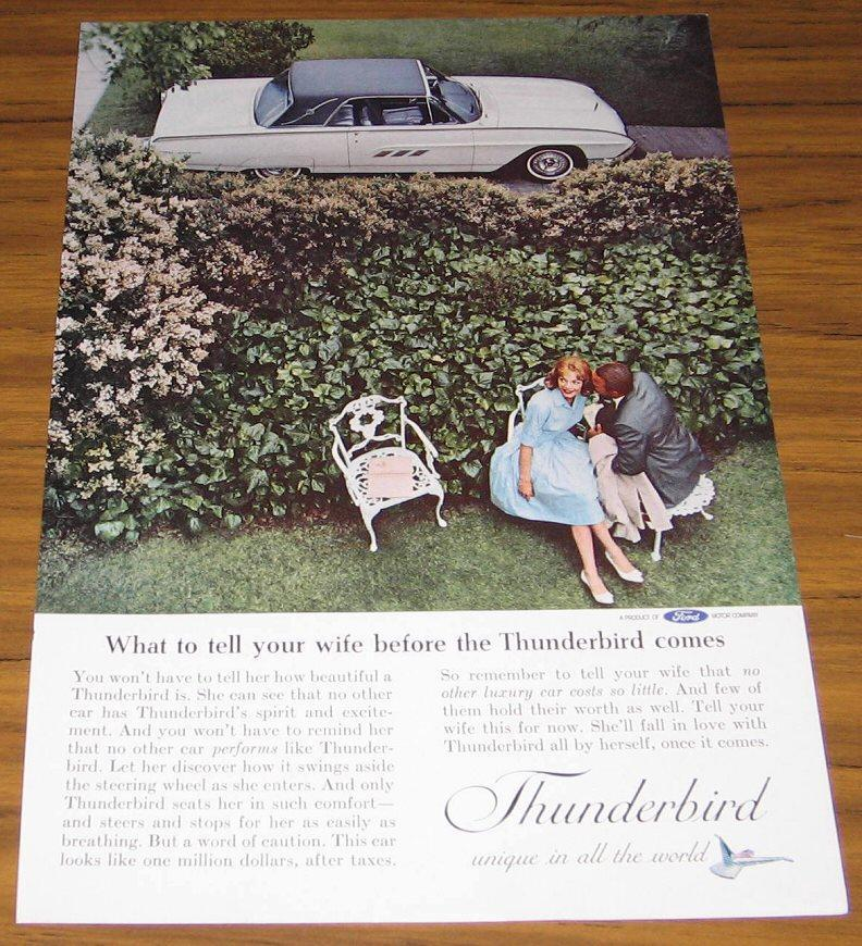 1962 AD~FORD THUNDERBIRD~T-BIRD & HAPPY COUPLE