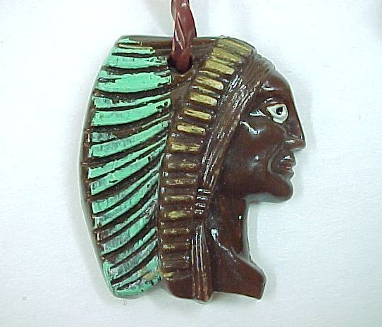 Vintage 1960  Indian Chief Head  Pendant Plastic Necklace  Marked Hong Kong