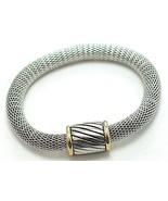 Trendy Magnetic Fastening Barrel Silver Mesh Br... - $9.99