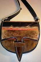 Ecuador One-of-a-Kind Fur/Leather Messenger/Cross body purse - :  ecuador leather purse purse bag handbag vintage leather