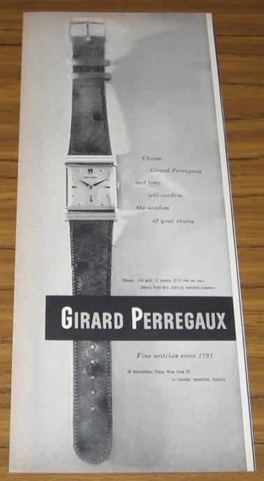 1951 Ad~Girard Perregaux Wrist Watch~Watches