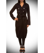 Fleur Black Trench Coat-Medium - $35.99