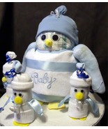 Large Mama PENGUIN Diaper Cake TOPPER (Blue) Bo... - $35.00