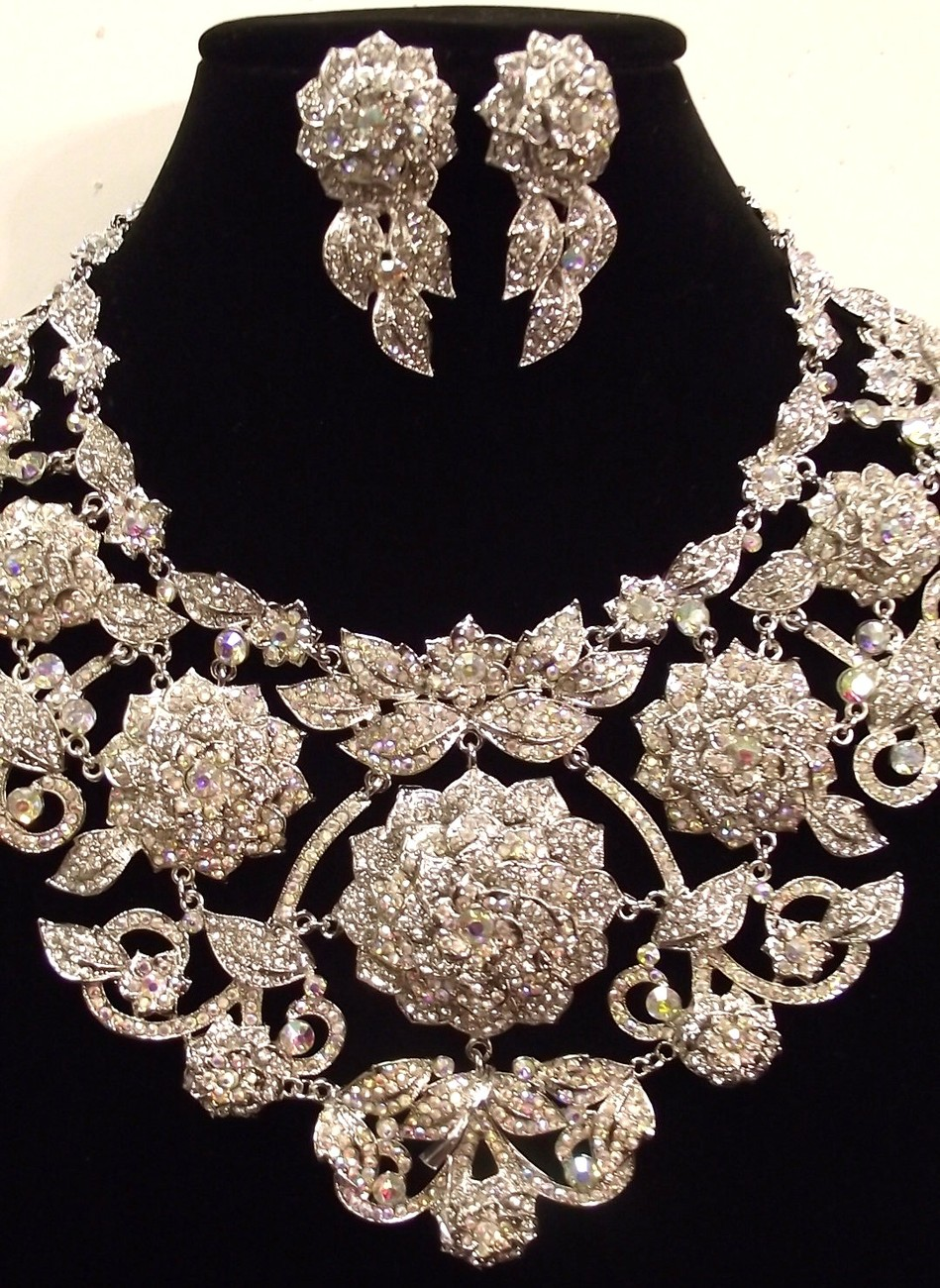 Clear AB Swarovski Crystal Drag Pageant Necklace Set