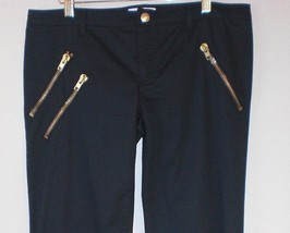 Moschino Black Straight Leg Skinny Pant/Jeans. Gold Zipper - - :  skinny pant pants black pants zipper