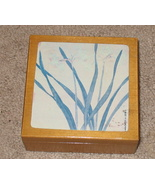 Blue Floral and Wood Trinket Box Blue Grass - $4.99