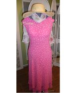 Flowy 20s 30's style silk dress w/ hat and scar... - $33.00