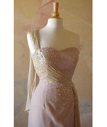 Style 1071 / Beaded Dress / One Shoulder Pagean... - $551.25