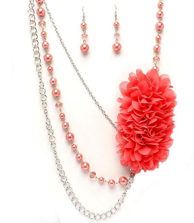 New coral colored fluffy soft FLOWER peach imitation pearl necklace earring set