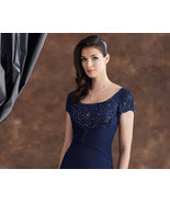 #110929 Navy Blue Formal Gowns - Cap Sleeve Mot... - $388.13