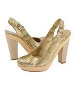Nine West Popgoes Chunky Platform Shoes Gold Br... - $31.00