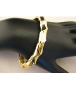 Goldtone Heavyweight Bamboo Style Hinged Bangle... - $24.00