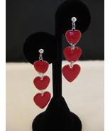 Glossy Red Hearts And Silvertone Dangle Earring... - $6.00
