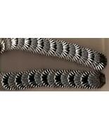 Vintage 80s Silver & Black Shells Stretch Belt - $15.00