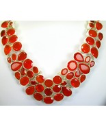 Flame Orange Carnelian Sterling Silver Choker C... - $318.20
