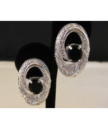 Silvertone With Jet Black Stone Clip On Earrings - $8.00