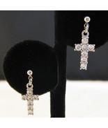 Silvertone Dangle CZ Cross Earrings New - $6.00