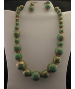 Turquoise & Gold Color Necklace And Earring Set... - $16.00