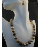 Faux Brown,Caramel And Golden Pearl Necklace & ... - $23.00