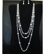 Three Strand Faux White Pearl Necklace And Earr... - $18.00