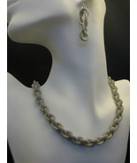 Silvertone Mesh Necklace And Earring Set 18