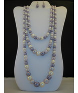 Lavendar And White Faux Pearl Three Strand Neck... - $17.00