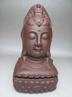 Violet arenaceous red clay sculpture guanyin bodhisattva smoked censer censer